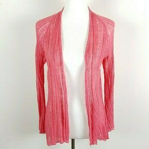 Eileen Fisher M Sweater Cardigan Linen Silk Pink
